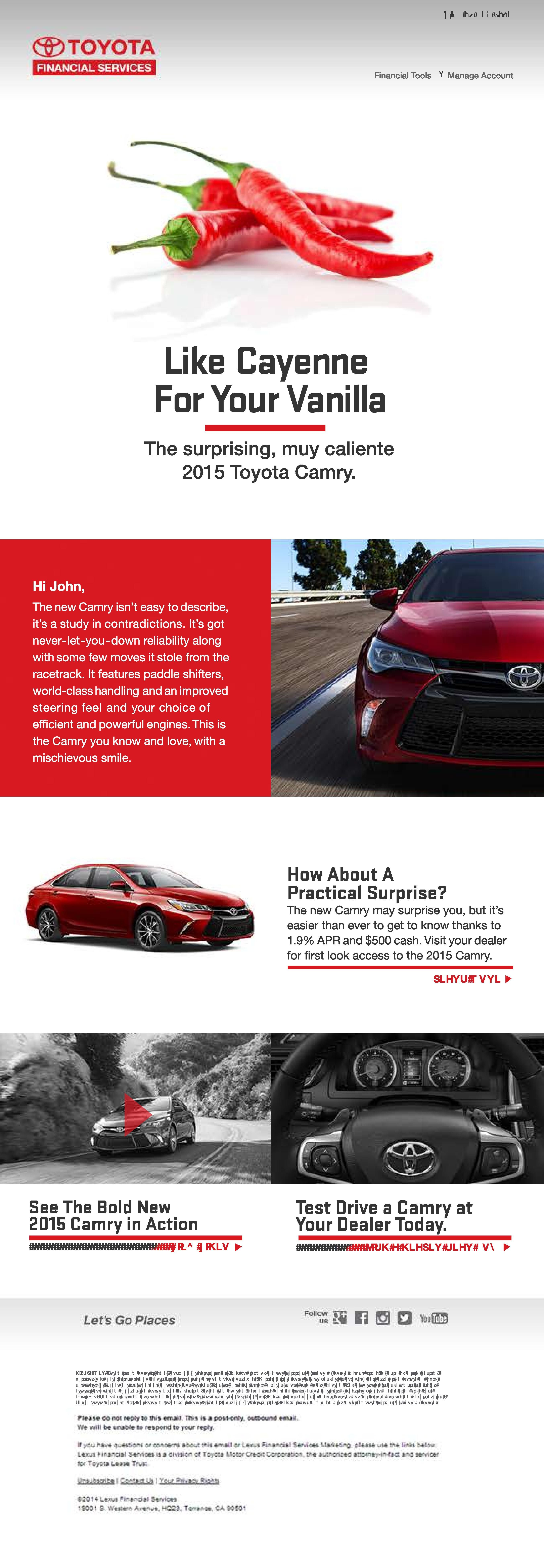 Email Design For Toyota Toyota 2015 Toyota Camry Camry 2015
