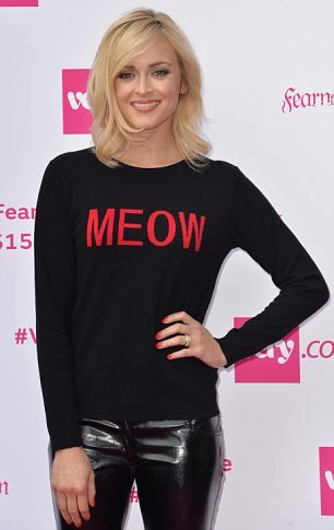 Fearne changed into a slogan T-shirt and shiny trousers