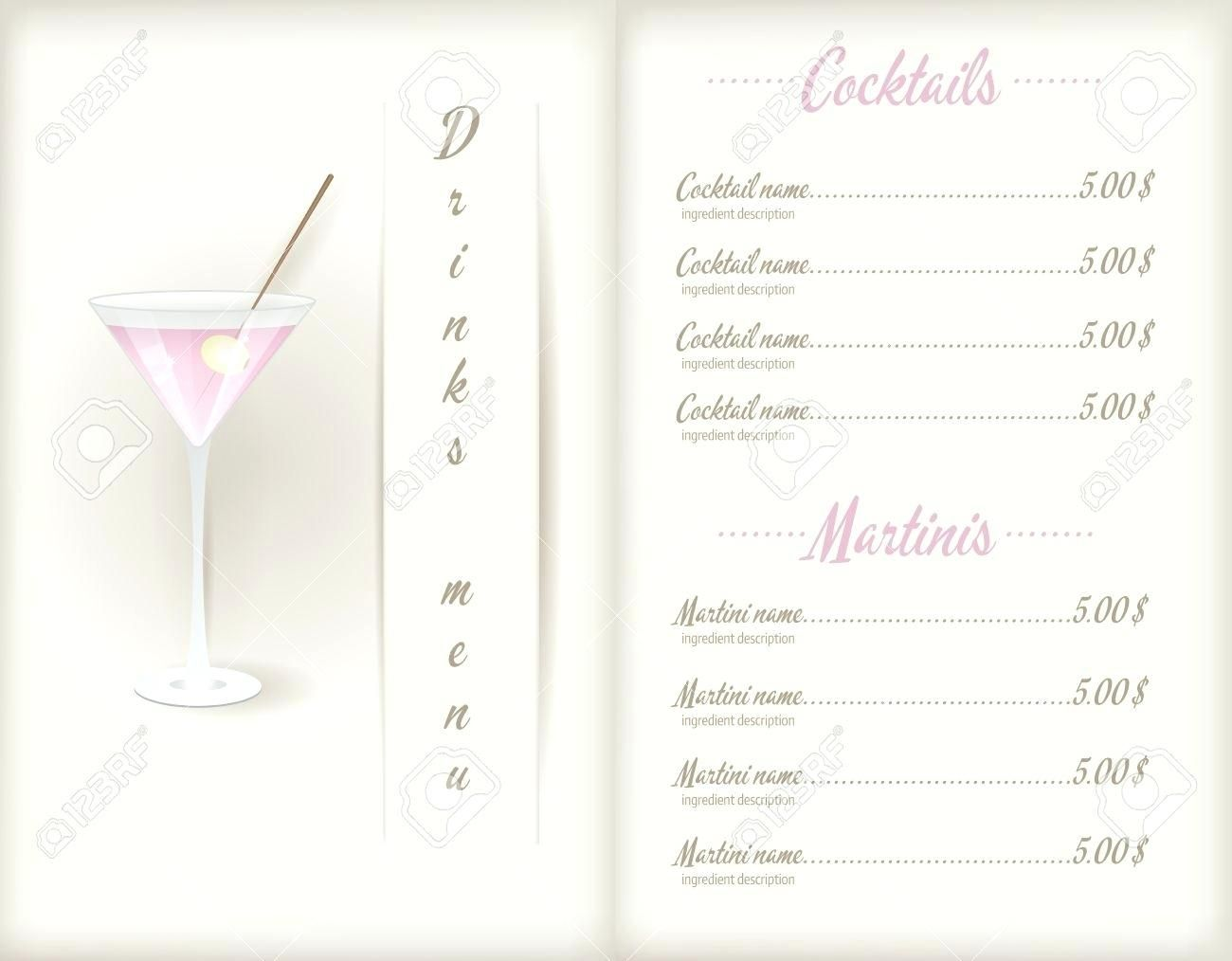 Drink Menu Template Wepage.co in Cocktail Menu Template