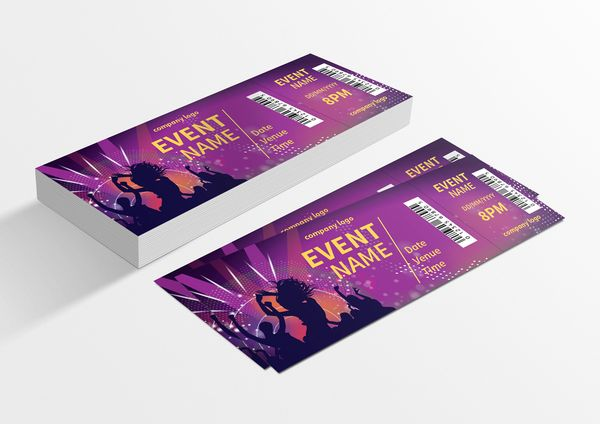 music party ticket template for only 6 designs net 60th