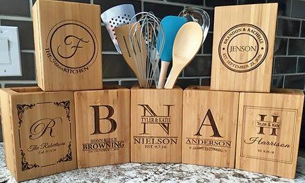 American Laser Crafts Kitchen Utensil Holder Bamboo Kitchen