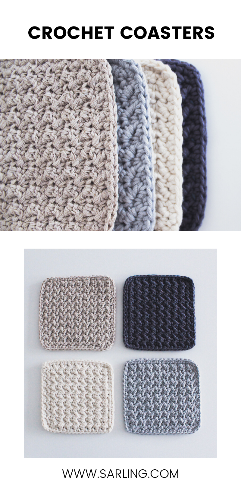 Square Crochet Lugn Coasters Sarling Com Free Patterns