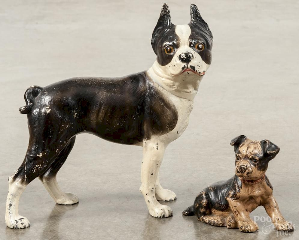 Two painted cast iron Boston terrier doorstops, 19th/20th