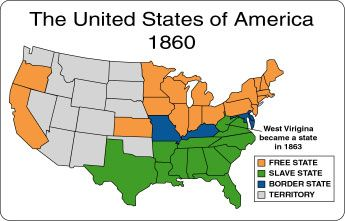 Map of the us 1860 slave states free states