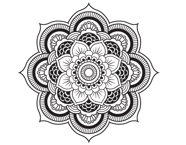 Dibujo De Un Mandala Flor Oriental Para Pintar, Colorear O