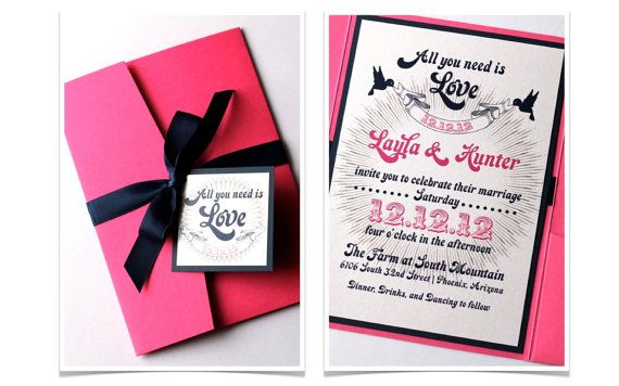 Modern Pocket Fold Wedding Invitation In Hot Pink Navy Blue And White By Embellishedbytiffany