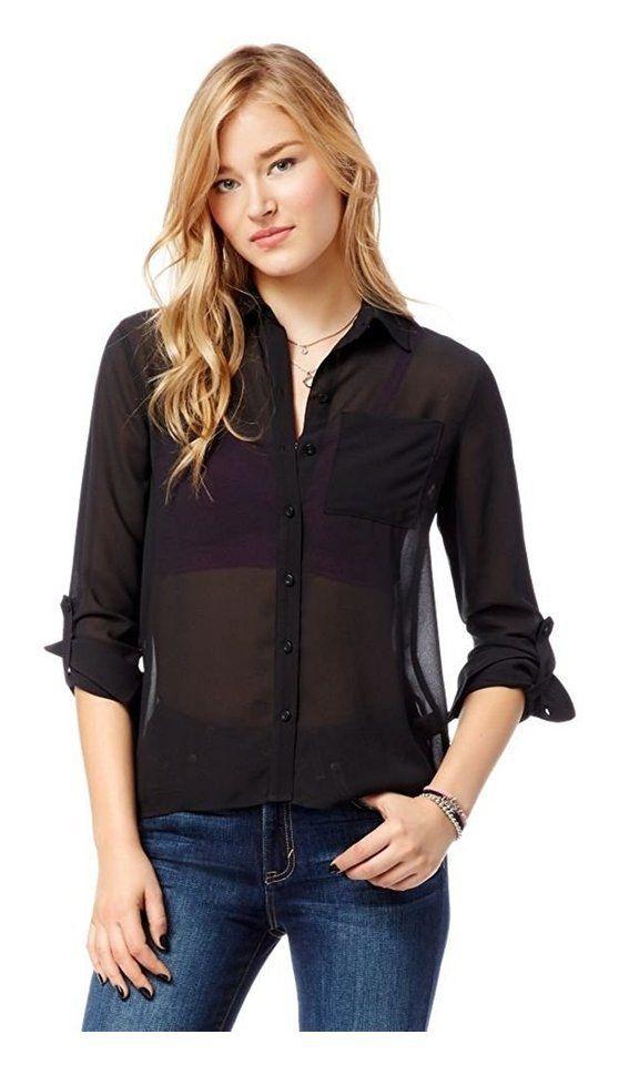 Aeropostale Womens Sheer Button Up Shirt