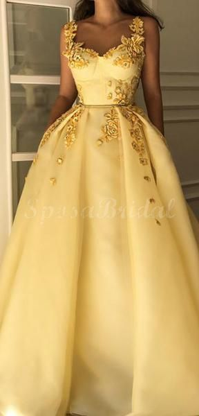 Chamring Yellow Aline Elegant Unique Long Prom Dresses with appliques, Ball Gown PD1420 Chamring Yellow Aline Elegant Unique Long Prom Dresses with appliques, Ball Gown PD1420 - Ball gowns, Prom dresses yellow, Prom dresses modest, Prom dresses, Prom dresses long, Sparkly prom dresses - Chamring Yellow Aline Elegant Unique Long Prom Dresses with appliques, Ball Gown PD1420 The dress can be custom made in size and color for free, lace up back or zipper back are all available  Description 1, Material satin, appliques,  elastic satin  2, Color picture color or other colors, there are many colors avail