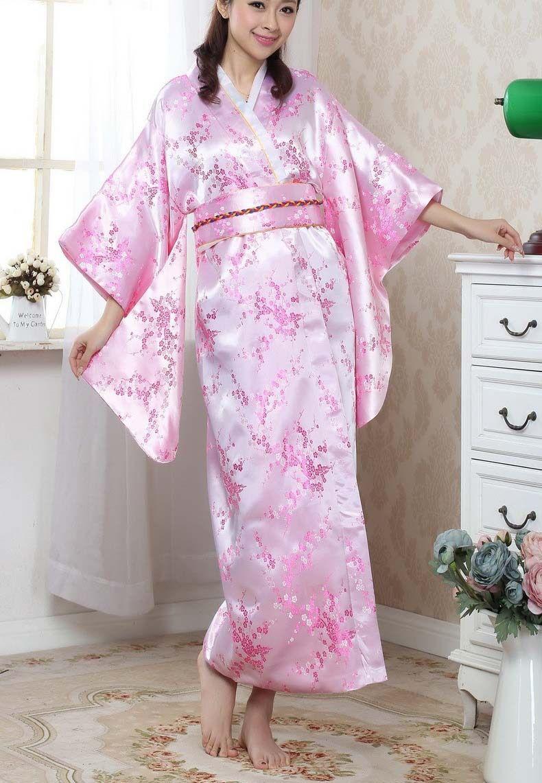 Big Discount Pink Female Satin Silk Kimono Japanese Traditional ...