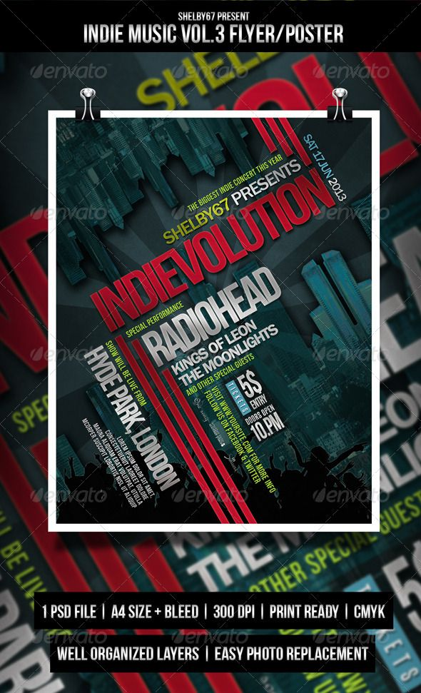 Indie Music Flyer \/ Poster Vol3 Music flyer, Flyer template and - music flyer