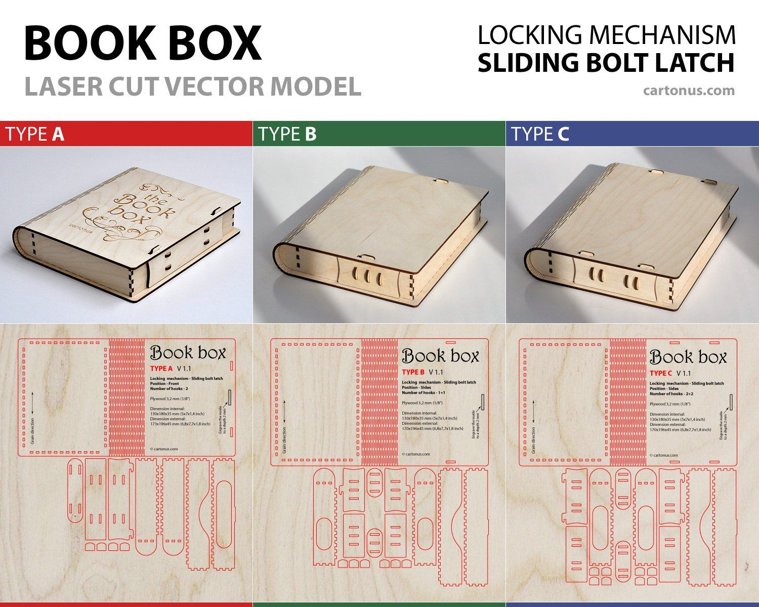 Wooden BOOK - BOX with sliding bolt latch  3 lock types