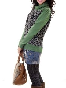 Green Fashion Ladies Turtleneck Long Sleeve Splicing Leopard Knitted Sweater