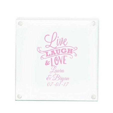 Custom Glass Coaster Wedding Favors