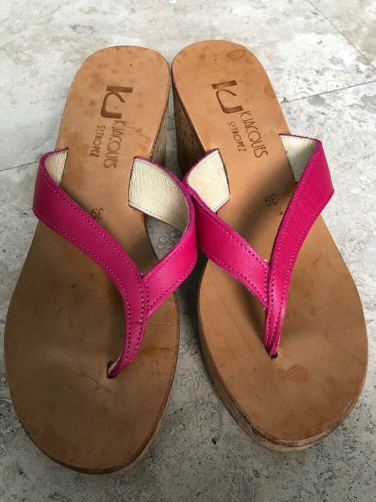 2878edab621b KJacques St Tropez Pink Leather Wedge Cork Platform Mule Sandals Size-36   fashion  clothing  shoes  accessories  womensshoes  sandals (ebay link)