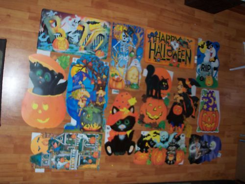 vintage decorations ex large halloween paper diecuts cutouts eureka multi color - Ebay Halloween Decorations