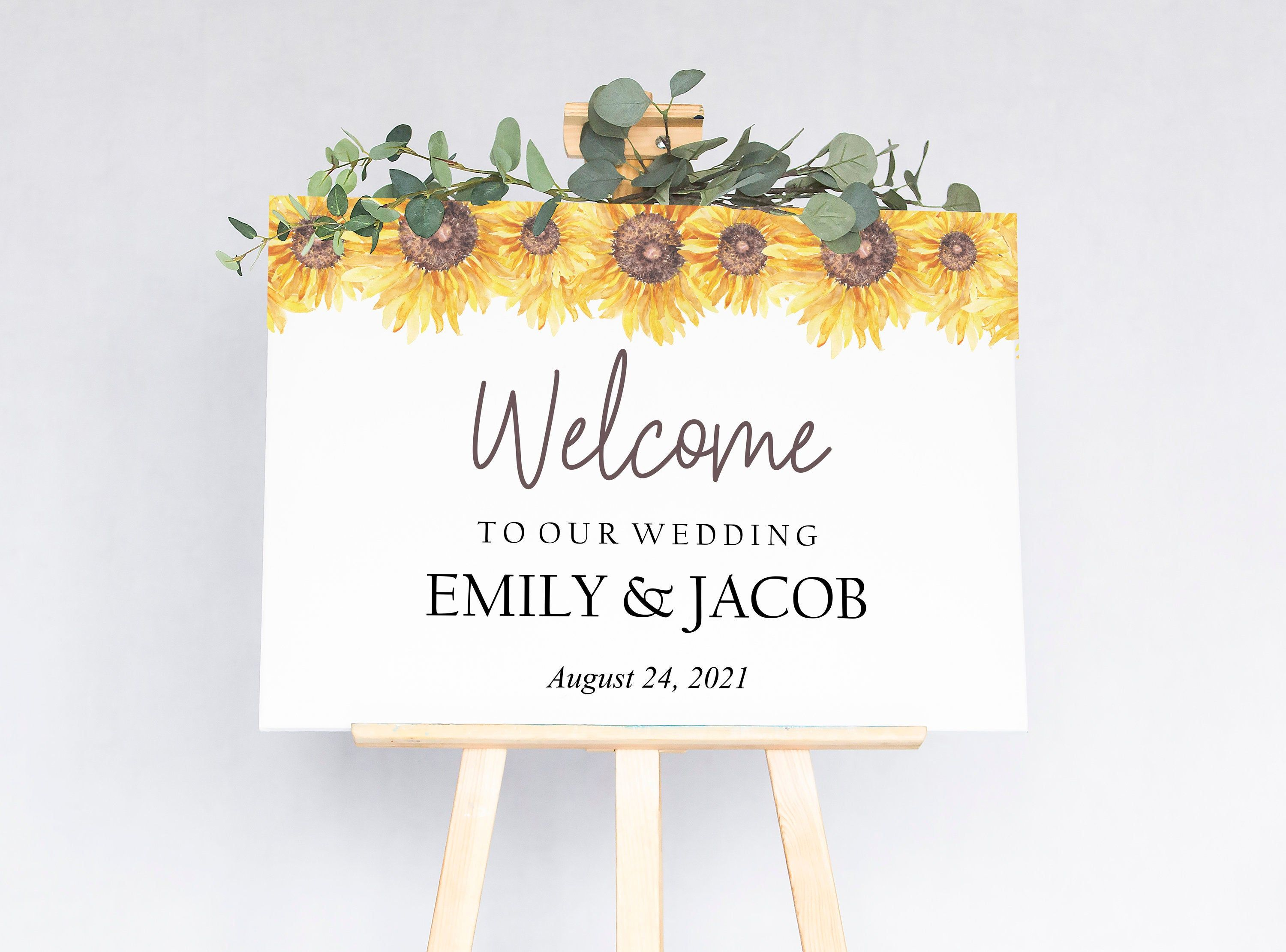 Sunflower Wedding Welcome Sign Template Printable Floral Etsy Wedding Welcome Signs Sunflower Wedding Sign Templates