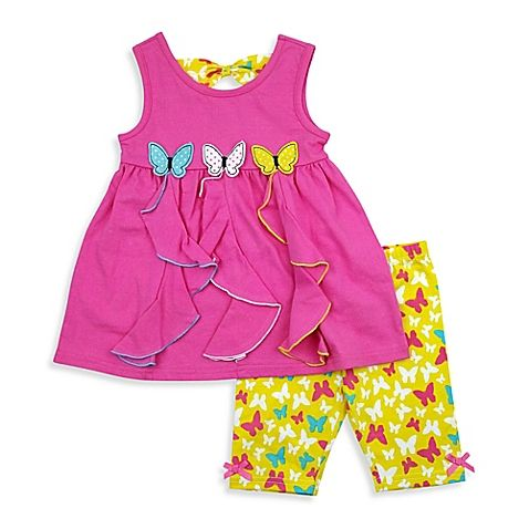 Bright pink and yellow and a sweet butterfly theme make this Nannette Baby Top and Bike Short Set a fun look for your stylish little gal. The sleeveless top has 3D butterflies at the waist, and the short and back tie feature a matching butterfly print.
