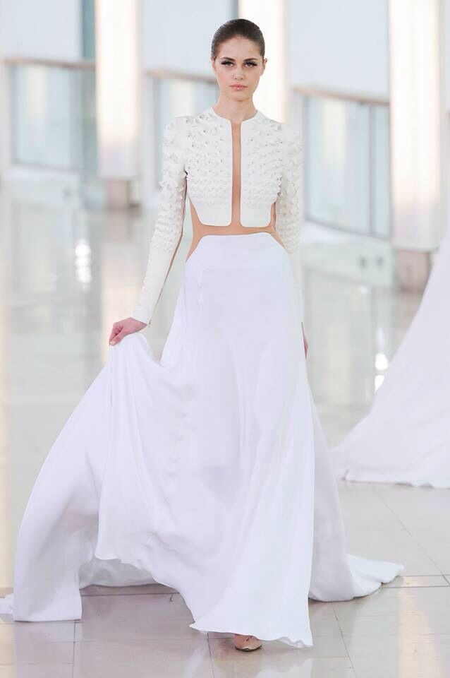 White illusion gown