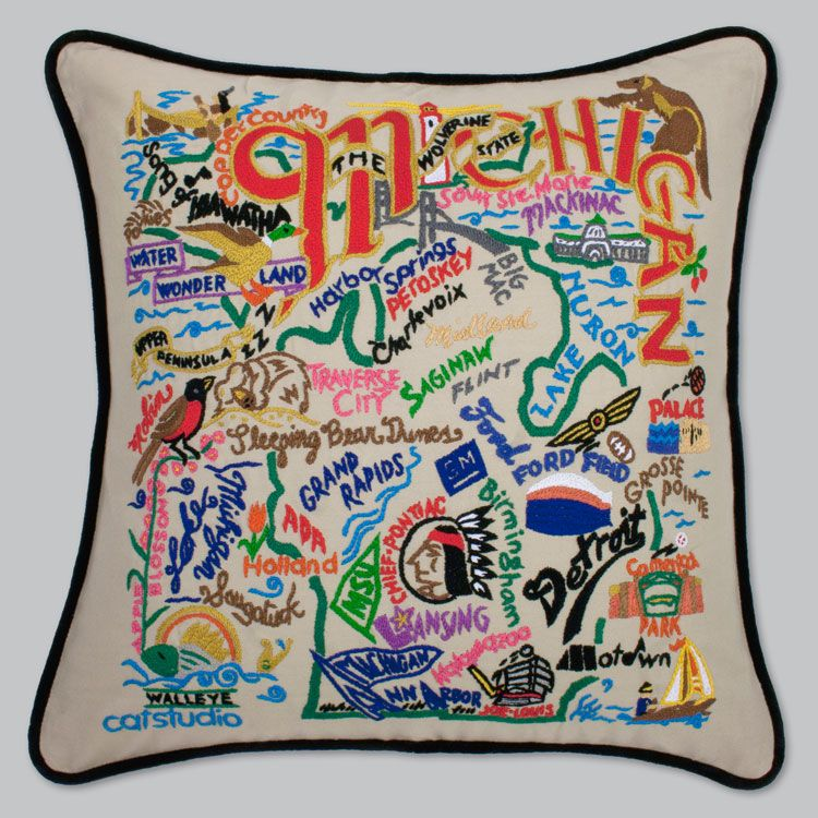 Buy Hand Embroidered State Pillows By Catstudio