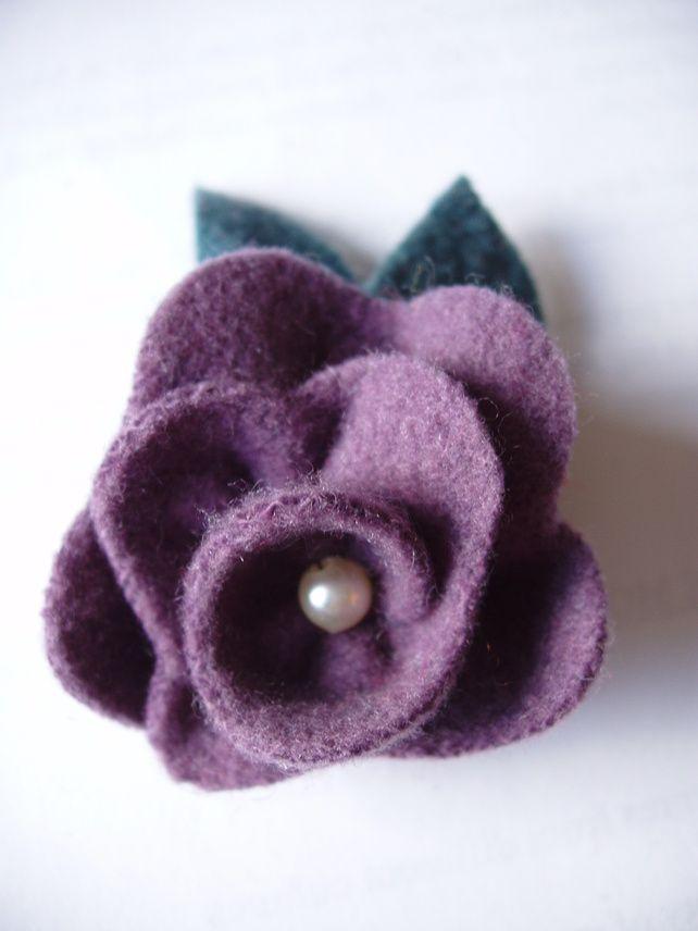 Recycled Felt Lilac Flower Brooch Lilac Flowers Flower Brooch Fabric Flowers