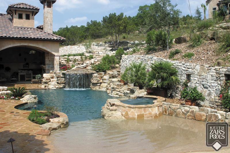 Beautiful beach entry pool in san antonio keith zars - Swimming pools in san antonio texas ...