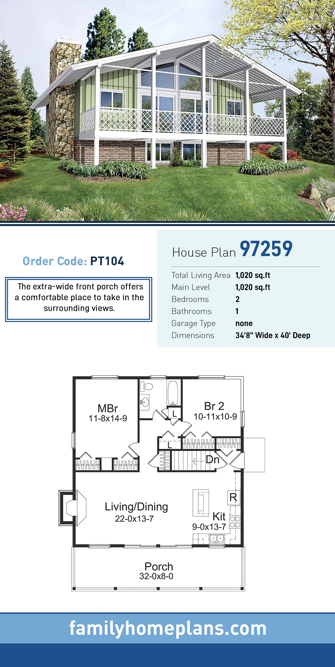 Traditional Style House Plan 97259 With 2 Bed 1 Bath House Plans Bungalow House Plans Bungalow Style House Plans
