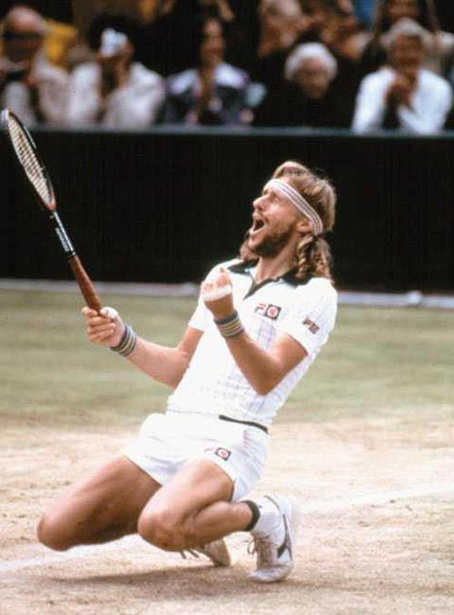 1976 Sweatband-wearing Swedish heartthrob Björn Borg takes the first of  five consecutive Wimbledons. Later 558a5a2fe5e
