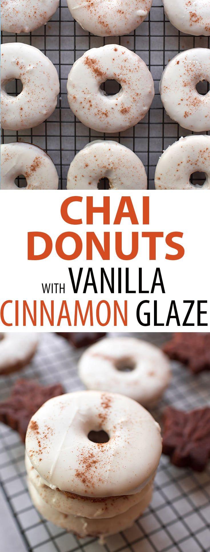 Chai baked donuts with vanilla cinnamon glaze cake