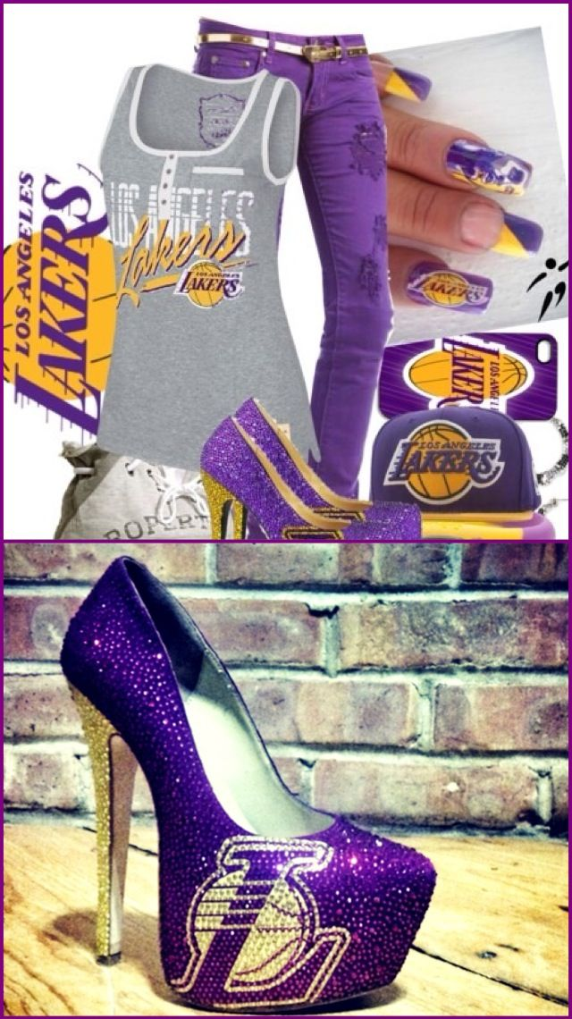 LA Lakers outfit, shoes, nails