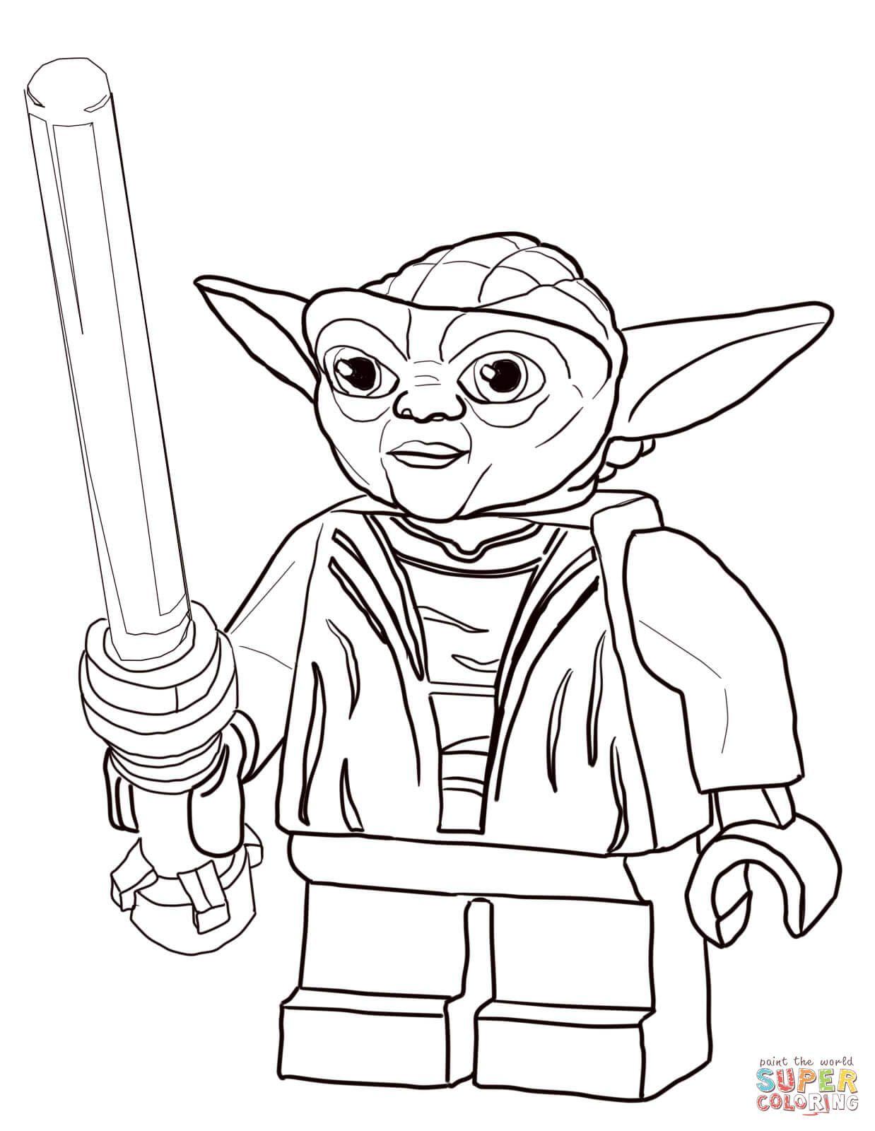 Lego Star Wars Master Yoda Super Coloring Lineart Star Wars