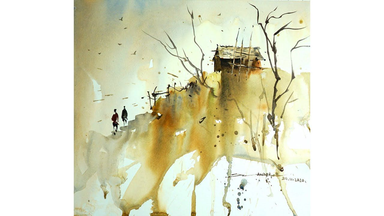 Easy Watercolor Landscape Painting For Beginners By Sikander Singh