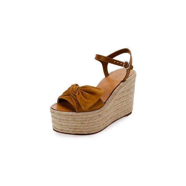 306bd9e4dbc Valentino Tropical Bow Espadrille Wedge Sandal ( 268) ❤ liked on Polyvore  featuring shoes