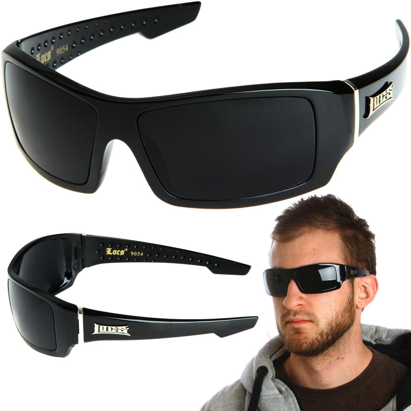 be4a0325a21 Locs Rectangular Gangster Black Shades Mens Designer Sunglasses Cholo Dark  Lens