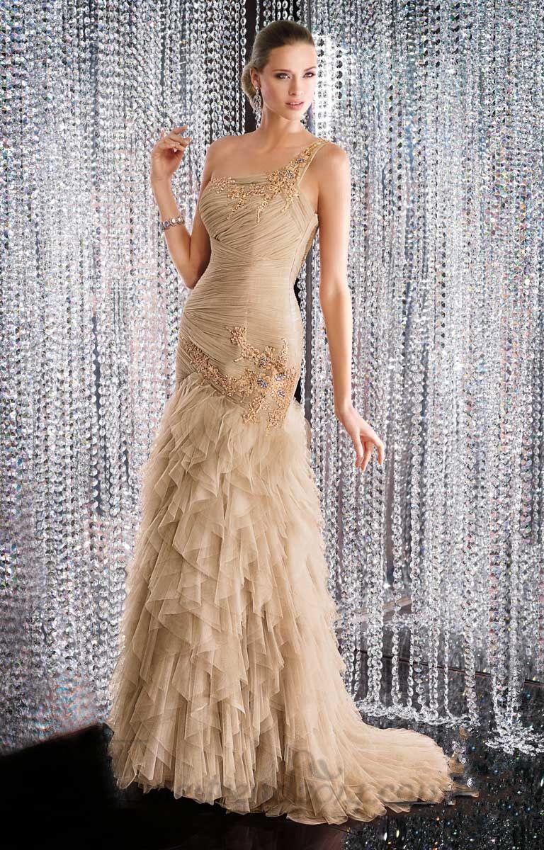 One shoulder brush train empire evening dress jewelsdresses