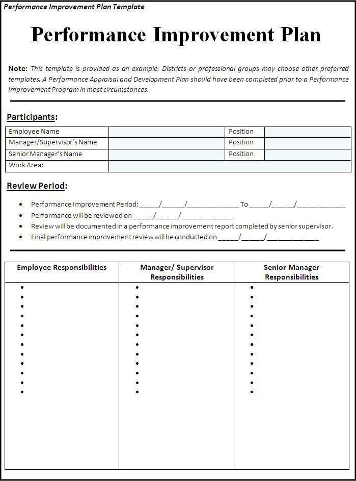 Performance Improvement Plan Template  Professional Templates