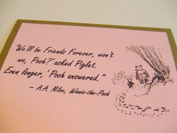 Friends Forever Winnie The Pooh Quote By Prettypetalspaper, $3.00