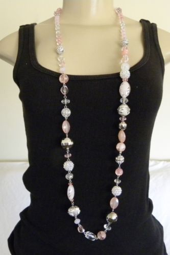 New Alexa's Angels Pink Necklace Bracelet Rhodium Beads Crystal 7 in 1 Magnetic