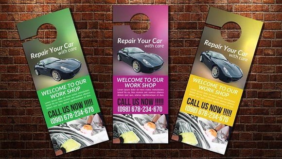 Car Wash Door Hanger Template By Psd Templates On Creativemarket