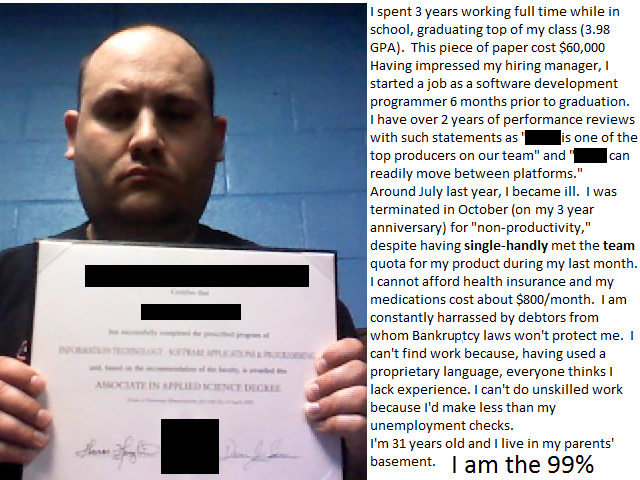 I am the 99%  #occupyWallStreet  #OWS