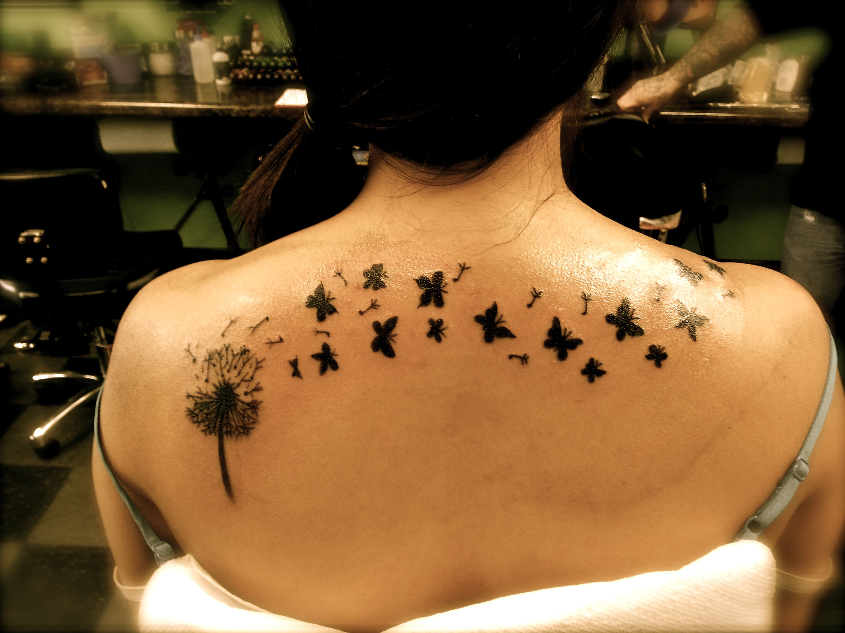 2b158b5080cd5 Dandelion Butterfly Tattoo by Chris at Maximum Tattoo @Laura  Harley-Davidson #HDNaughtyList