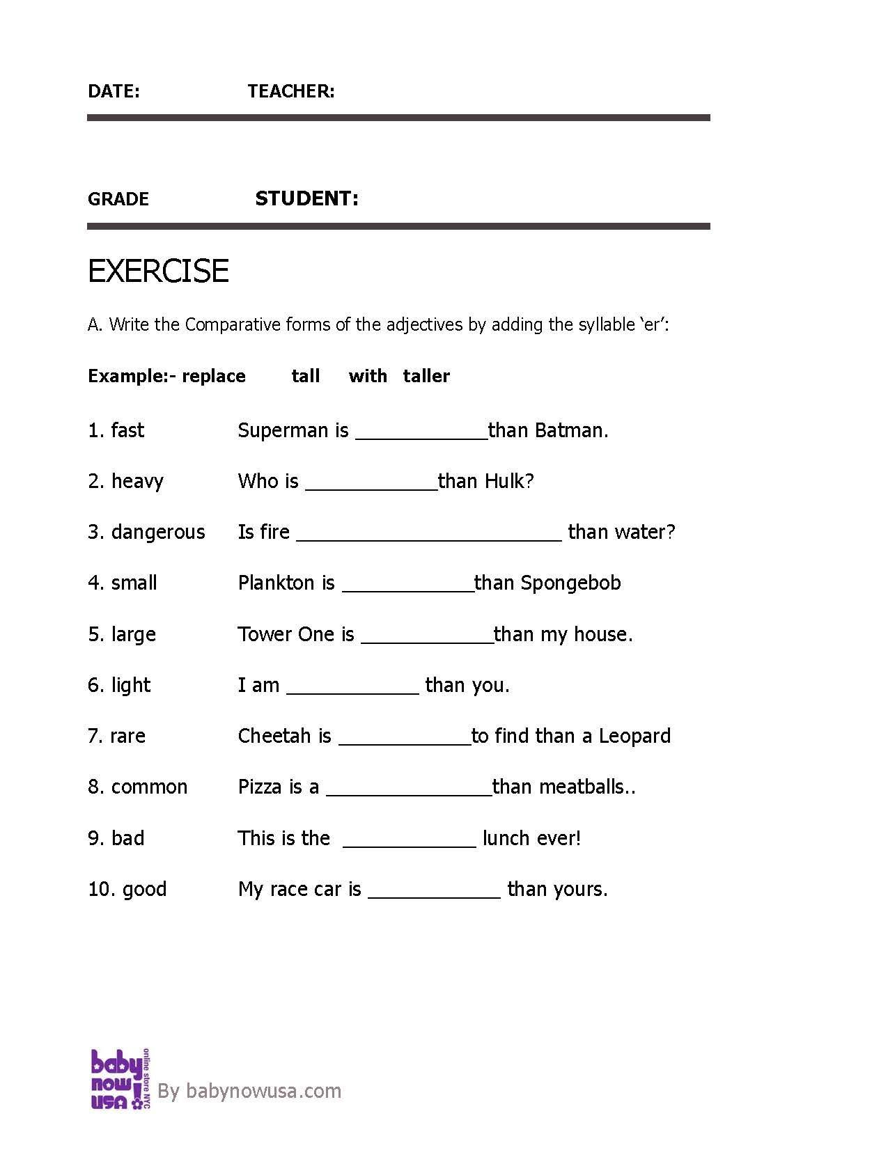 Worksheet Of Comparative Adjectives For Grade 2