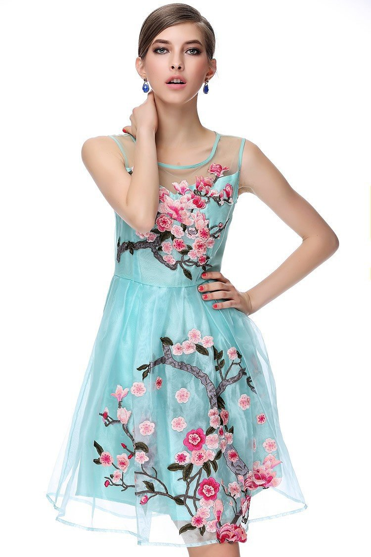 Womenus dresses blue beige black d flower embroidery fashion