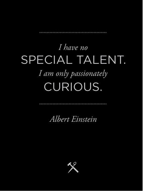 Albert Einstein Ich habe keine besondere Begabung, sondern bin nur leidenschaftlich neugierig.