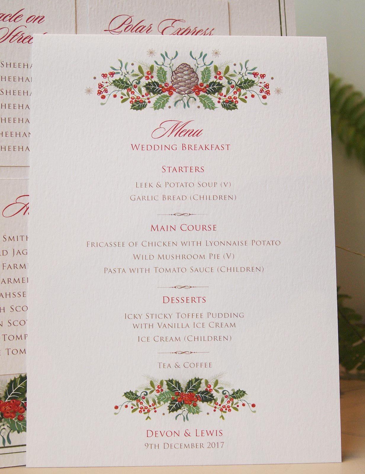 Holly Berries - Christmas themed wedding menu | Paper Pleasures ...
