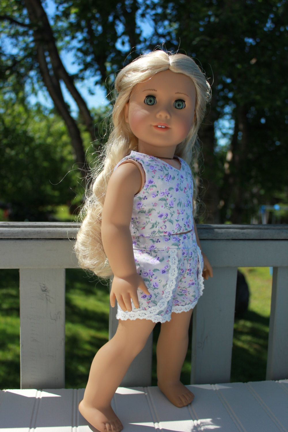 18 inch doll clothes, floral crop top, floral lace trim dolphin shorts , Upbeat Petites by UpbeatPetites on Etsy