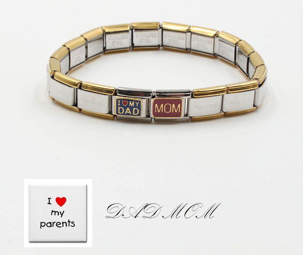 اسواره نومنيشن I Love My Dod Mom مصنوع من الستنلس ستيل فري سايز قابل للتحكم بالقياس صنع في كوريا اسواره Accessories Bracelets Italian Charm Bracelet My Love