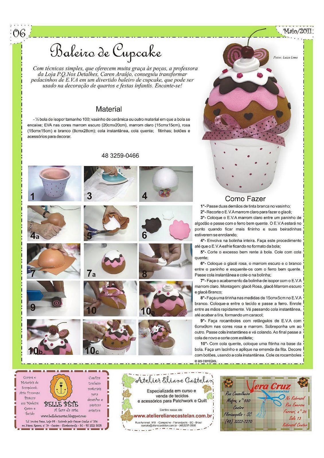 Cupcake De Foami Artesanato Com Eva Moldes Em Eva Baleiro E