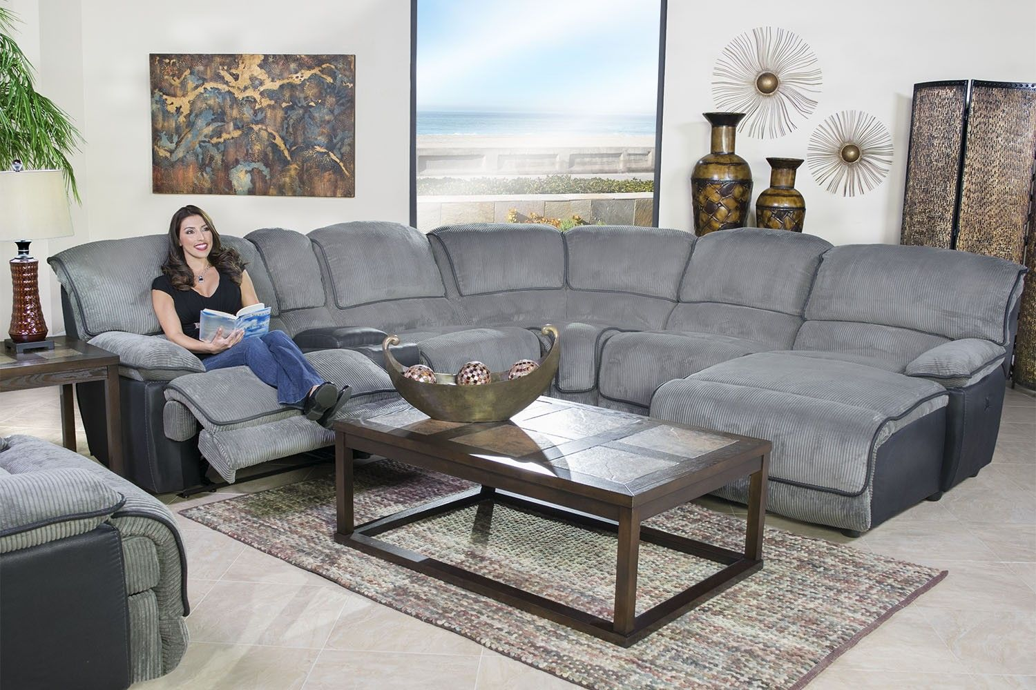 Mor Furniture for Less: The Austin Graphite Reclining Living Room
