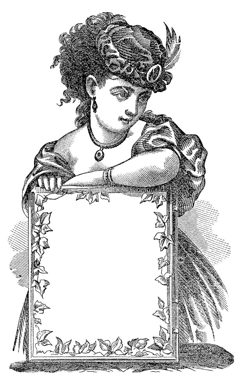 Antique Clip Art - Victorian Lady with Sign - Label
