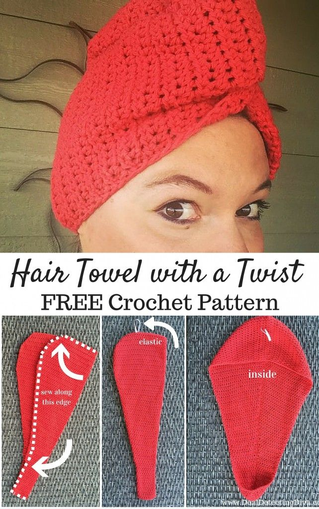Hair Towel With A Twist Free Crochet Pattern 1 Stick And Some